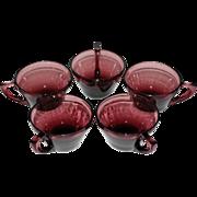 SALE Hazel Atlas ~ Set of 5 Purple Amethyst Moroccan Cups