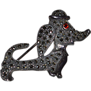 SALE Sterling Silver & Marcasite Dachshund Dog Brooch/Pin