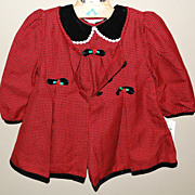 SALE 1980s Christmas Red & Velvet Black Dress w/ Overcoat For Child or Large Doll