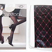SALE Franzoni ~ Italian Diamond-Design Black Stockings ~ Mint