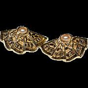 SALE AVON Simulated Pearl Fan Shaped Goldtone Earrings