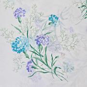 SALE 1970s Tastemaker ~ Blue Carnation No-Iron Twin Flat Sheet