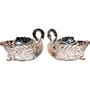 SOLD Heavy Clear Glass Swan Candy or Nut Dish ~ 2 Available - Red Tag Sale Item