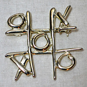 SALE 1970/80s Tic Tac Toe Silvertone Pin/Brooch