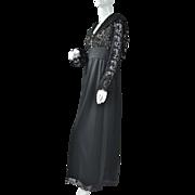 SALE 1960/70s Lord & Taylor ~ Black Lace Maxi Dress