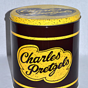 SOLD Charles Pretzels ~ Large Advertising Tin Can