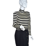 SALE 1980s Kwai ~ Deep Gray & Cream White-Striped Sweater Dress ~ USA