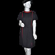 SALE 1960s Lorac ~ ILGWU Black & Red Shift Dress w/ Brass Accents