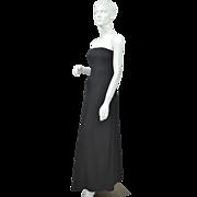 SALE 1970s Lillie Rubin ~ Black Strapless Evening Gown