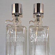 SALE 1950s Continental Say-When ~ Set of 2 Mid-Century Modern Chrome & Glass Liquor Decanters