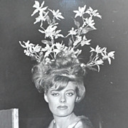 SALE 1960s Surreal Flower Bouquet in Hair ~ Orig 8x10 B/W Photograph