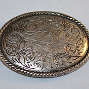 SALE Etched Scrollwork Oval Belt Buckle