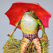 SALE Embossed Frog w/ Umbrella Die-Cut Scrap