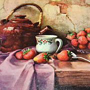 SALE 1950/60s Winde ~ Strawberries & Teapot Still Life Art Print