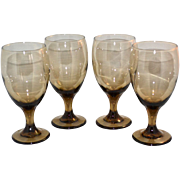 SALE 1970s Libbey Set of 4 Smoky Brown Topaz Iced Tea or Water Goblets