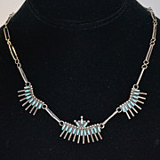 SALE Signed Zuni Petit Point Sterling Turquoise Necklace