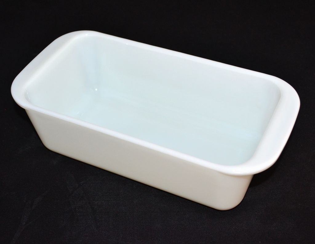 Pyrex White Milk Glass Bread Loaf Baking Pan From