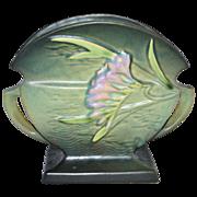 SALE 1945 Roseville Pottery ~ Freesia Green Fan Vase/Planter