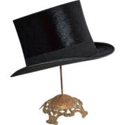 SOLD 1900s Maurice L. Rothschild ~ Black Beaver Fur Top Hat w/ Box