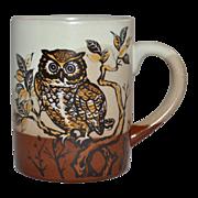 SALE 1970s Haunted Owl Pottery Mug