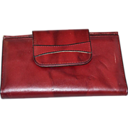 SALE 1970s Amity ~ Burgundy Cowhide Leather Checkbook/Wallet