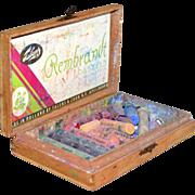 SALE 1950s Rembrandt Pastels in Original Wood Box