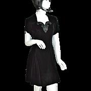 SALE Jessica McClintock Gunne Sax ~ Black Velvet & Rhinestone Mini Dress
