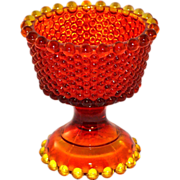 SALE Amberina Orange Hobnail Glass Compote Vase