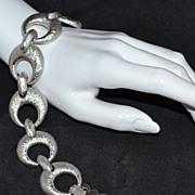 SALE Monet ~ Crescent Moon-Inspired Textured Silvertone Link Bracelet