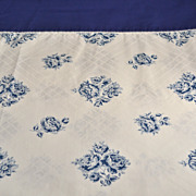 SALE 1960s Wamsutta ~ Blue Rose No-Iron Twin Flat Sheet
