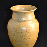 SALE W. Glass ~ Speckled Mustard Yellow Pottery Vase