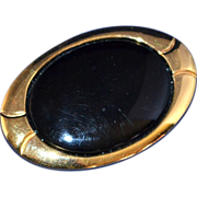 SALE Napier ~ Large Black Oval Goldtone Brooch/Pin