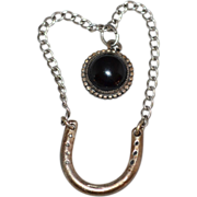 SALE Sterling & Onyx w/ Horseshoe Pendant