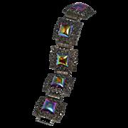 SALE Ornate Iridescent Purple Glass Bracelet