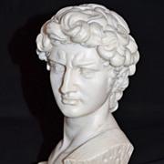 SALE 1960s Alabaster & Marble Michelangelo's David Neoclassical Sculpture