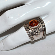 SALE Sterling Silver & Baltic Amber Wide Band Ring