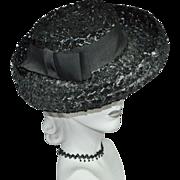 SALE Union-Made Black Raffia Hat w/ Rolled Brim