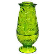 SALE 1970s Viking Glass ~ Lime Green Pressed Glass Owl Fairy Lamp