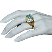 SOLD 1970s Crystal Ball Aurora Borealis Faceted Glass Ring