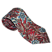 SALE Oscar de la Renta ~ Blue Flower Crimson Red Tie