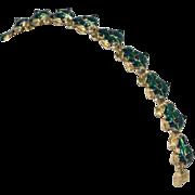 SALE Green Enamel Frog Link Bracelet