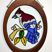 SOLD Stained Glass Bird in Oval Wood Frame w/ Chain