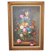 "SALE Nancy Lee Signed Massive 43"" Still Life Vase of Flowers Framed Oil Painting"