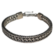 SALE 30G Sterling Mexican Style Thick Weave Design Bracelet
