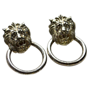 SALE Lion Head Doorknocker Pierced Earrings
