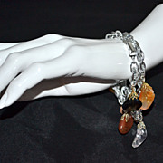 SALE Set of 2 Germany Made Lucite & Natural Stone Charm Bracelets