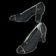 SALE 1930s Friedman-Shelby ~ NOS Gabardine Black Snakeskin Embossed Heel Shoes