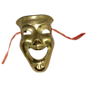 SOLD 1970s Solid Brass Comedy Theatre Face Mask w/ Tassels