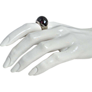 SALE Sterling Silver & Black Onyx Dome Ring