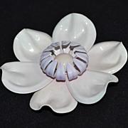 SALE Large & Bizarre White Enamel Flower Pin/Brooch